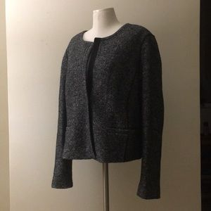 LOFT Marled Gray Wool Blend Blazer